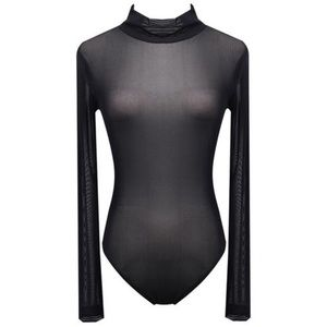 Charlotte Russe Black Mesh Long Sleeve Bodysuit M